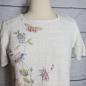 ALFRED DUNNER Floral White Shoulder Pads Shirt